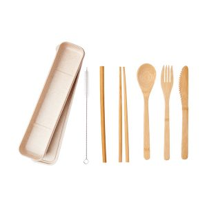 Bamboo Cutlery & Straw Set
